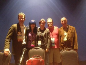 Team Tiara! Max Gladstone, Stina Leicht, me, Chuck Wendig, and Ben Bova - Photo by Karen Bovenmeyer